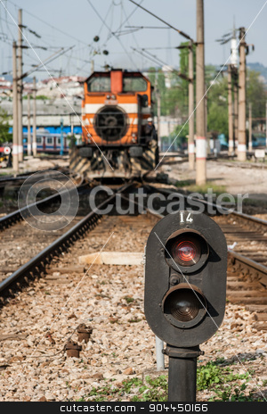 Railway Semaphore Near Haydarpasa stock photo, Railway semaphore near Haydarpasa, central station in Istanbul by OZMedia