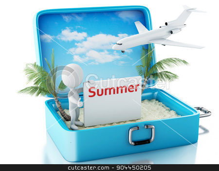 3d white people with signboard in a travel suitcase. Summer conc stock photo, 3d renderer image. White people with signboard in a travel suitcase. Beach vacation concept. Isolated white background by nicolas menijes