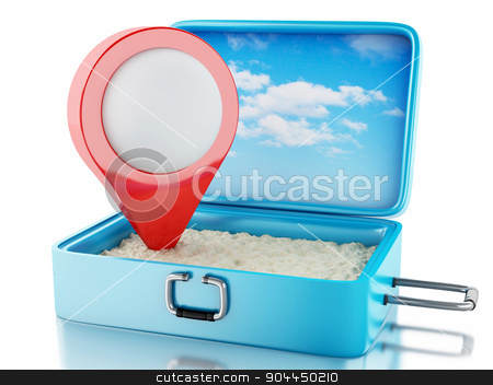 3d Map pointer in a travel suitcase. stock photo, 3d renderer image. Map pointer in a travel suitcase. Beach vacation concept. Isolated white background by nicolas menijes
