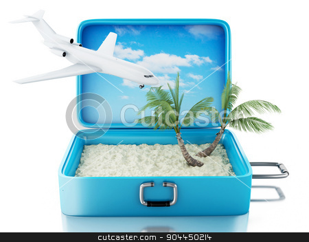 3d Travel suitcase. Isolated white background stock photo, 3d renderer image. Travel suitcase. Summer Vacation Concept. Isolated white background by nicolas menijes