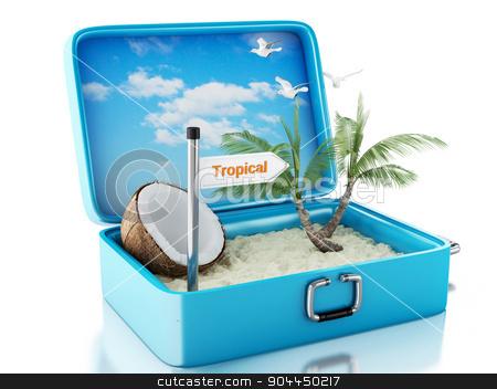 3d paradise beach travel suitcase. Isolated white background stock photo, 3d renderer image. Paradise beach in travel suitcase. Summer Vacation Concept. Isolated white background by nicolas menijes