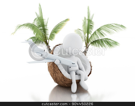 3d white people sitting in a coconut. Beach vacaction concept. stock photo, 3d renderer image. White people sitting in a coconut. Beach vacation concept. Isolated white background by nicolas menijes