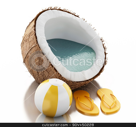 3d coconut paradise on white background stock photo, 3d renderer image. Coconut paradise. Summer concept on white background. by nicolas menijes