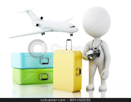 3d White people tourist with travel suitcases. stock photo, 3d renderer image. White people tourist with travel suitcases and camera. Travel concept. Isolated white background. by nicolas menijes