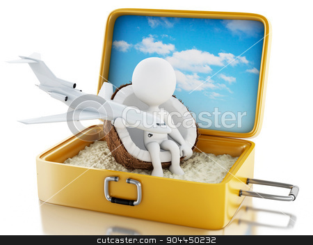 3d white people in a travel suitcase. Beach vacation stock photo, 3d renderer image. White people in a travel suitcase. Beach vacation concept. Isolated white background by nicolas menijes