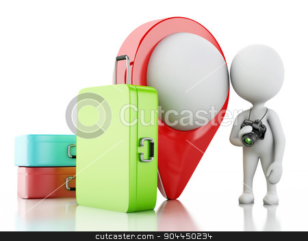 3d White people tourist with travel suitcases and camera. stock photo, 3d renderer image. White people tourist with travel suitcases and camera. Travel concept. Isolated white background. by nicolas menijes