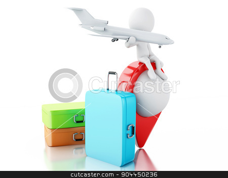 3d White people tourist with travel suitcases. stock photo, 3d renderer image. White people tourist with travel suitcases. Travel concept. Isolated white background. by nicolas menijes