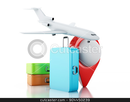 3d Travel suitcase, airplane and map pointer.  stock photo, 3d renderer illustration. Travel suitcase, airplane and map pointer. Travel concept on white background. by nicolas menijes