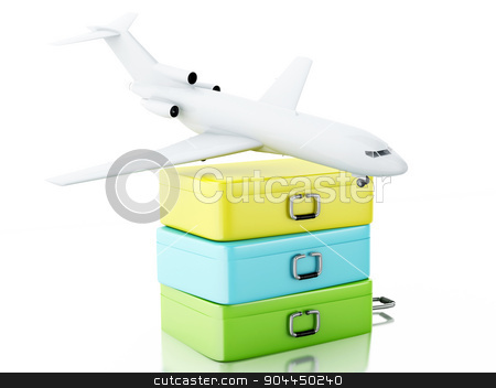 3d Travel suitcase and airplane stock photo, 3d renderer illustration. Travel suitcase and airplane. Travel concept on white background. by nicolas menijes