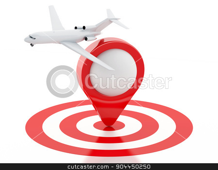 3d Travel suitcase, airplane and map pointer in red target.  stock photo, 3d renderer illustration. Travel suitcase, airplane and map pointer in red target. Travel concept on white background. by nicolas menijes