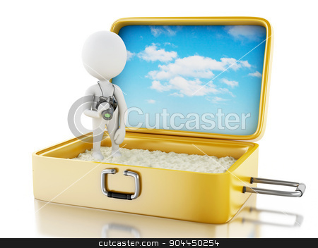 3d white people tourist with camera in a travel suitcase. stock photo, 3d renderer image. White people tourist with camera in a travel suitcase. Beach vacation concept. Isolated white background by nicolas menijes
