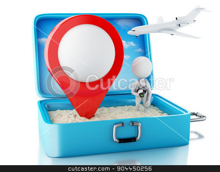 3d white people with map pointer in a travel suitcase stock photo, 3d renderer image. White people with map pointer in a travel suitcase. Beach vacation concept. Isolated white background by nicolas menijes