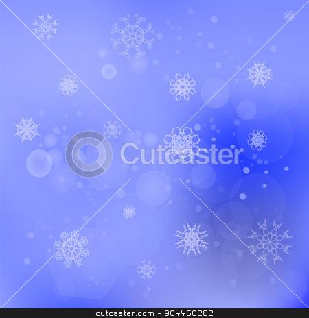 Snow Flakes Background stock vector clipart, Snow Flakes Background. Blurred Winter Blue Pattern  by valeo5