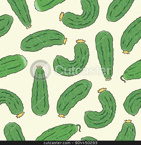 seamless pattern with green cucumbers stock vector clipart, Seamless pattern with green cucumbers. Vector eco food illustration. by Aleksandra Serova