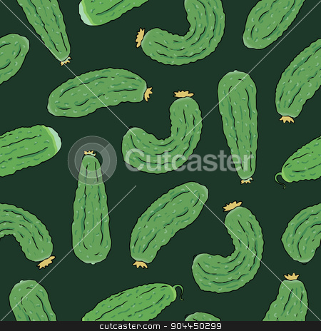 seamless pattern with green cucumbers stock vector clipart, Seamless pattern with green cucumbers. Vector eco food illustration. by Aleksandra Serova