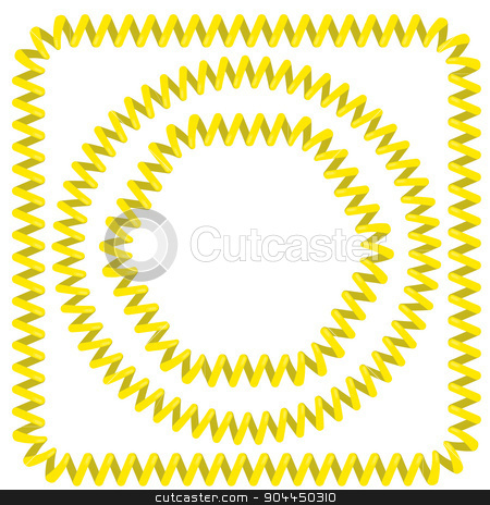 Cable Frames stock vector clipart, Set of Yellow Cable Frames Isolated on White Background by valeo5