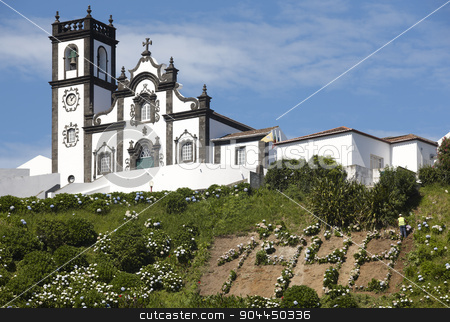 Traditional azores church in Porto Formoso. Sao Miguel island. P stock photo, Traditional azores church in Porto Formoso. Sao Miguel island. Portugal. Horizontal by ABBPhoto