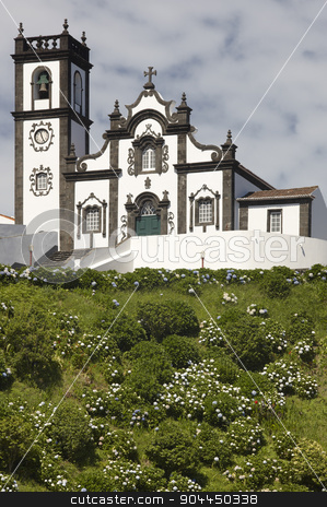 Traditional azores church in Porto Formoso. Sao Miguel island. P stock photo, Traditional azores church in Porto Formoso. Sao Miguel island. Portugal. Vertical by ABBPhoto
