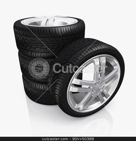 Car wheel, vehicle part. stock photo, Car wheel isolated on white background, vehicle part. by yodiyim