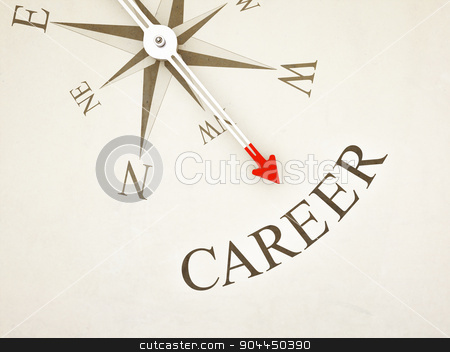 Compass stock photo, An image of a nice compass with the word career by Markus Gann