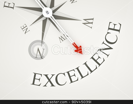 Compass stock photo, An image of a nice compass with the word excellence by Markus Gann