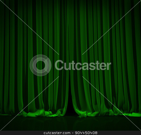 Green curtain in theater. stock photo, Green curtain with spot light on theater or cinema stage. by yodiyim