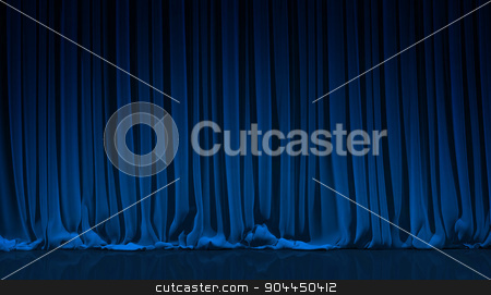 Blue curtain in theater. stock photo, Blue curtain on theater or cinema stage. by yodiyim