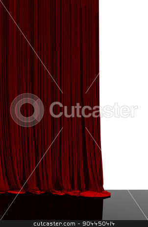 Red curtain in theater. stock photo, Opening red curtain on theater or cinema stage. by yodiyim