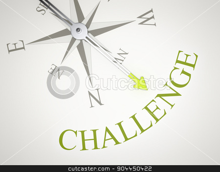 Compass stock photo, An image of a nice compass with the word challenge by Markus Gann