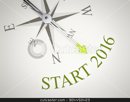 Compass stock photo, An image of a nice compass with the word start 2016 by Markus Gann