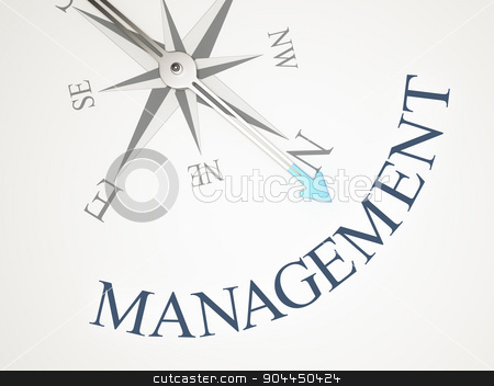 Compass stock photo, An image of a nice compass with the word management by Markus Gann