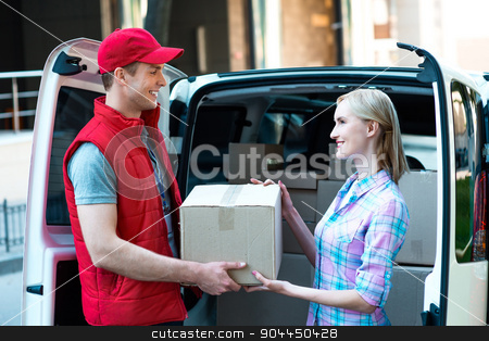 First class delivery service. Courier Delivering Package By Van. stock photo, Colorful picture of courier delivers package for woman. They are looking at each other and smiling.  by Dmytro Sidelnikov