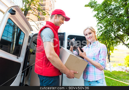 First class delivery service. Courier Delivering Package By Van. stock photo, Colorful picture of courier delivers package for woman. Woman is receiving the parcel and smiling.   by Dmytro Sidelnikov