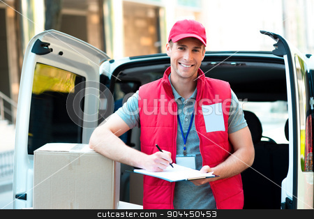 Courier Delivering Package By Van stock photo, Colorful picture of courier delivers package. Courier holding the box and smiling.  by Dmytro Sidelnikov