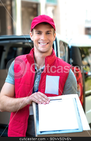 Courier Delivering Package By Van stock photo, Colorful picture of courier delivers package. Courier giving the dokument for sign. by Dmytro Sidelnikov