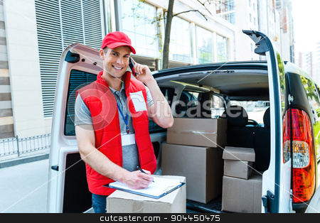 Courier Delivering Package By Van stock photo, Colorful picture of courier delivers package. Courier talking on the phone, looking at camera and smiling.  by Dmytro Sidelnikov