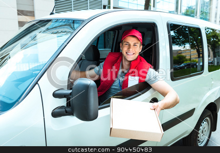 Courier Delivering Package By Van stock photo, Colorful picture of courier delivers package. Man is riding in the car, holding the box and smiling. by Dmytro Sidelnikov