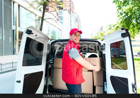 Courier Delivering Package By Van stock photo, Colorful picture of courier delivers package. Courier picking up the parcal from the car and smiling.  by Dmytro Sidelnikov