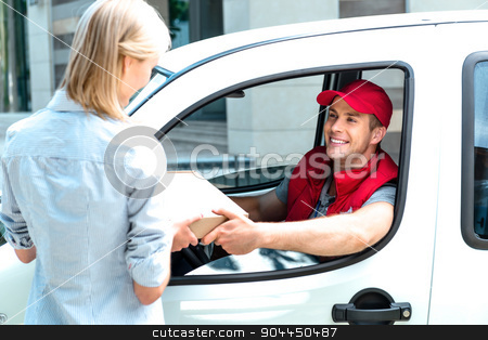 Concept of courier delivers package for woman stock photo, Colorful picture of courier delivers package for woman. Courier is sitting in the car and smiling. Woman accepts the parcel. by Dmytro Sidelnikov
