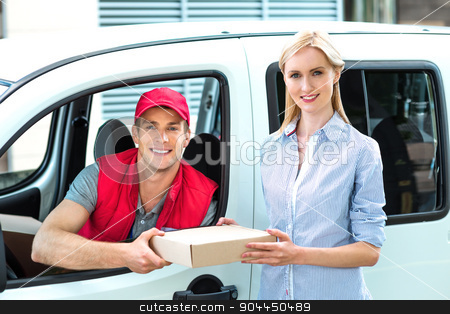 Courier Delivering Package By Van stock photo, Colorful picture of courier delivers package for woman. Courier is sitting in the car and smiling. Woman accepts the parcel. by Dmytro Sidelnikov