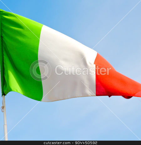 italy   waving flag in the blue sky  colour and wave stock photo, waving flag in the blue sky italy   colour and wave by mason luca