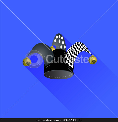 Jester Hat stock vector clipart, Jester Hat Isolated on Blue Background. Long Shadow by valeo5