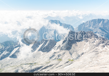 Zugspitze mountain top of Germany stock photo, Landscape of Alpine Alps mountain view from Zugspitze top of Germany by Vichaya Kiatying-Angsulee
