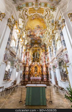 Interior of Pilgrimage Church Germany stock photo, Interior of Pilgrimage Church of Wies near  Fussen Bavaria, Germany by Vichaya Kiatying-Angsulee
