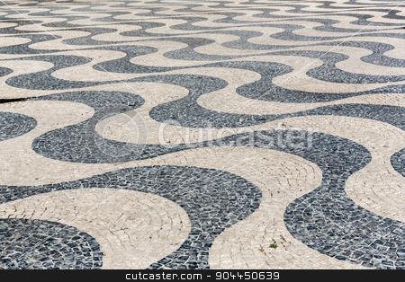 Tile brick floor stock photo, Tile brick floor in Lisbon Town Square, Portugal using as background by Vichaya Kiatying-Angsulee