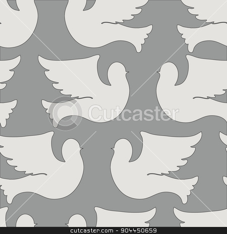 Doves and pigeons seamless pattern stock vector clipart, Doves and pigeons seamless pattern for peace concept and wedding design. Vector by Aleksandra Serova