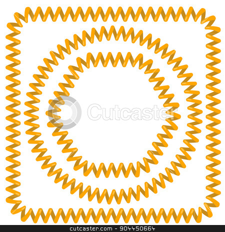 Cable Frames stock vector clipart, Yellow Cable Frames Isolated on White Background by valeo5