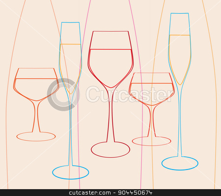 Glasses set  stock vector clipart, Insulated wine glasses set.Wine menu design template.Glasses set vector. by Pavel Skrivan