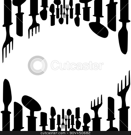 Cutlery background stock vector clipart, Cutlery backgroundMenu cover.Menu with cutlery vector illustration.Kitchen design background vector.Template for menu card. by Pavel Skrivan