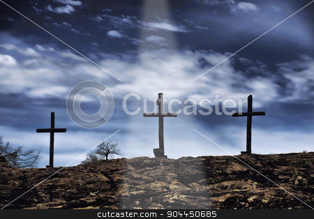 Old Wooden Crosses. stock photo, The old rugged wooden cross of the christian church. by WScott